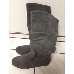 faux suede gray boots
