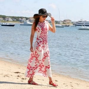 Dresses & Skirts - Red & White Floral Print Maxi Dress