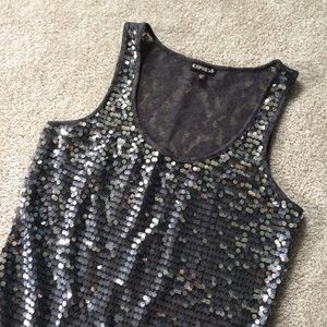Express sequins tank top with lace back