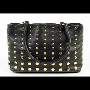 Prada Black Leather Gold Stud Calf Skin Tote