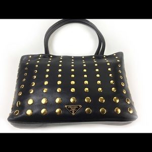 00f3398c18005f Prada Bags | Black Leather Gold Stud Calf Skin Tote | Poshmark