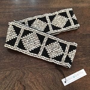 Cocobelle Accessories - Cocobelle Elastic Beaded Diamond Print Belt