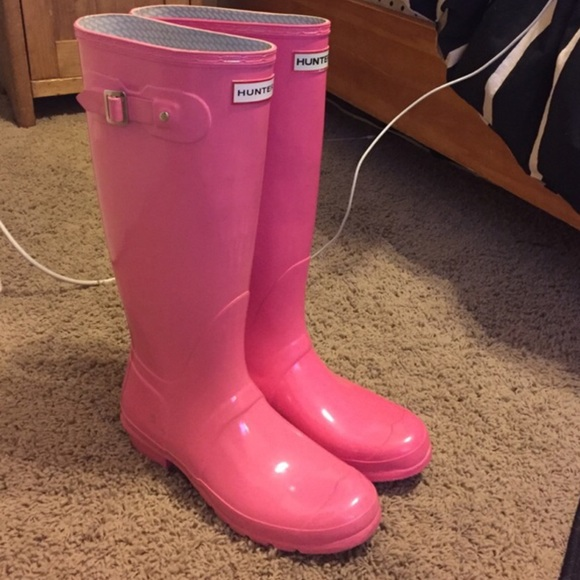 Hunter Shoes - Pink Hunter Boots size 11 tall gloss e460ae37f