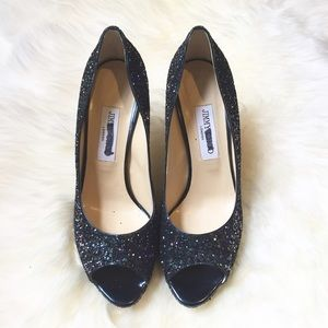 Jimmy Choo Shoes - Jimmy Choo Blue Glitter Peep Toe Heels 40.5