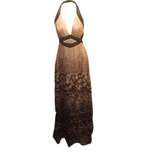 SALESexy Leopard Print Bebe Halter Maxi Dress