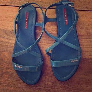 Prada Blue Patent Leather Sandal