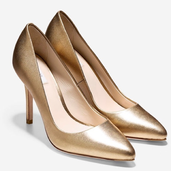 adc3978c861 Cole Haan Shoes - Cole Haan Emery Almond Toe Gold Pumps Size 8.5