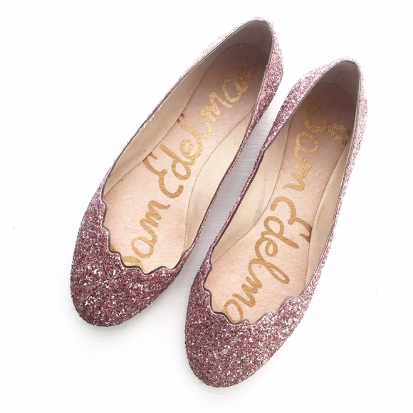 ef527fded44765 Sam Edelman Pink Glitter Scallop Ballet Flats. M 572a74957f0a054982000345