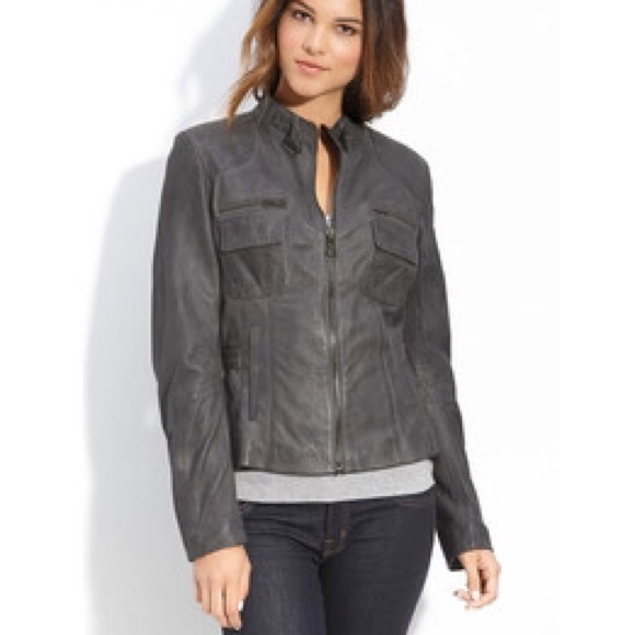 d26fb97e995 Bod & Christensen Jackets & Blazers - Bod & Christensen Grey Leather Jacket