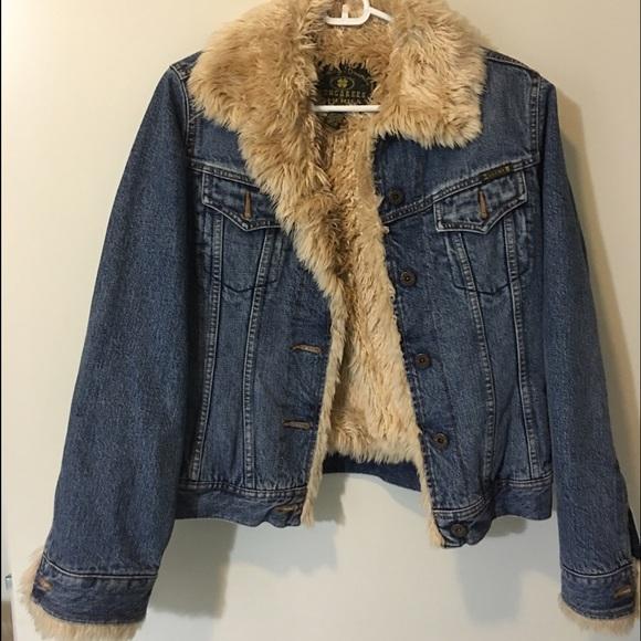 a5382e88bac Lucky Brand Jackets   Blazers - Lucky Brand faux fur blue jean jacket
