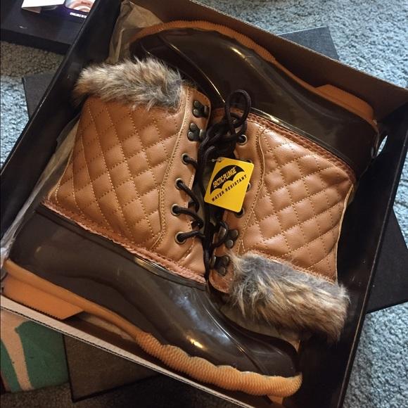 Salenwt Fur Winter Rain Duck Boots