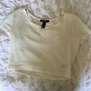 Forever 21 Tops - Forever 21 Ivory Textured Crop Top