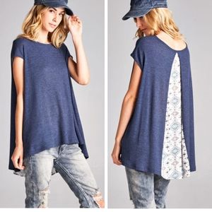 •open back oversized mosaic tunic•