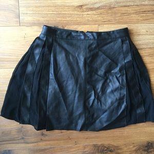ZARA black faux leather pleated skirt XS