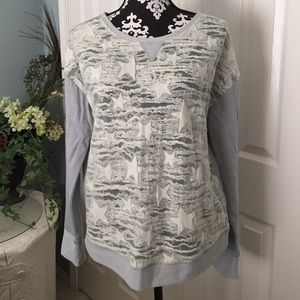 New listing-cute light gray, sheer front top