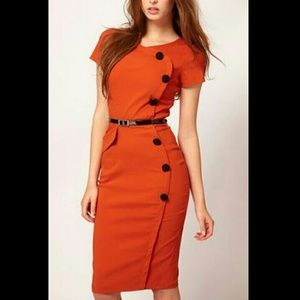 OASAP Dresses & Skirts - Button Embellishment Bodycon Dress in Orange