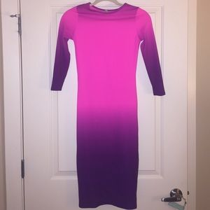 Ombré pink and purple 3/4 sleeve fitted dress!