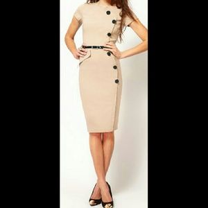 OASAP Dresses & Skirts - Button Embellishment Bodycon Dress in Apricot