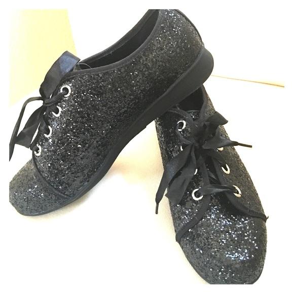 a7801e327a12 Joan Boyce Shoes - Black sparkle tennis shoes