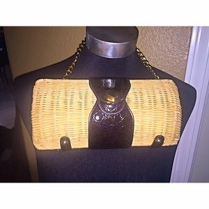 Handbags - Vintage 90s Bamboo & faux leather resort clutch