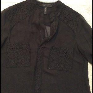  2X HP  BCBGMAXAZRIA Black sheer w/lace blouse