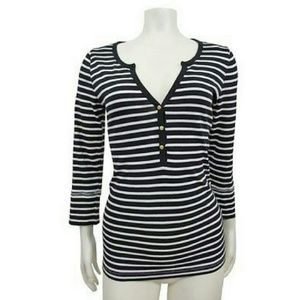 J.Crew perfect-fit stripe henley gold buttons Sz S