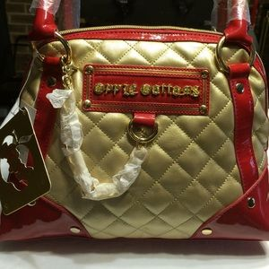 Apple Bottoms Handbags - Apple Bottoms purse in gold and red ....