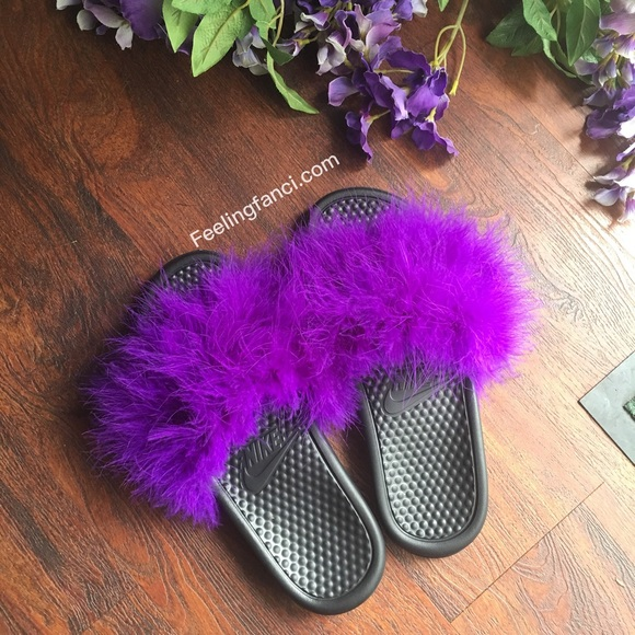 brand new 1c7b4 79ab0 Custom Nike Purple Faux Fur Slides furry slippers NWT