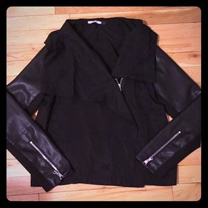 Black Jacket with Asymmetrical Zip Front