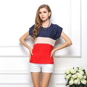 Tops - Navy, Cream and Red Stripe Top