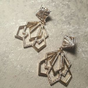 Statement earrings gold and silver tone