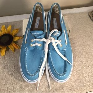 Sperry Top Sider Cool Turquoise Canvas Shoe