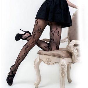 Black lace pantyhose leggings
