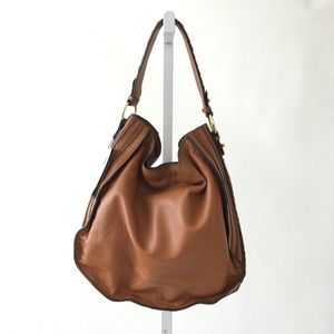 ZARA Cognac Leather Hobo Bag