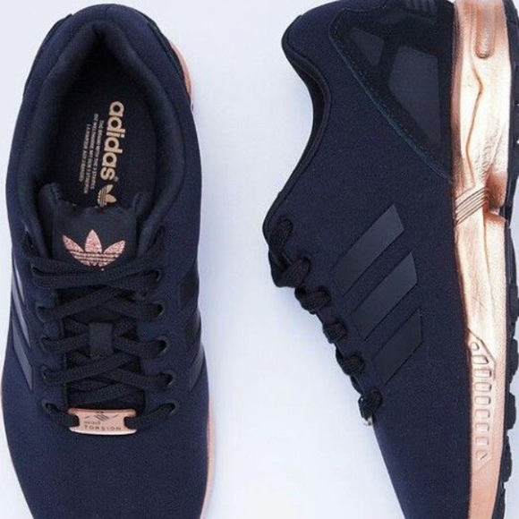 more photos ab7d3 01cd4 adidas zx flux copper metallic rose gold and black size 7.5 ...