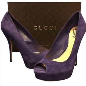 Gucci peep toe platforms