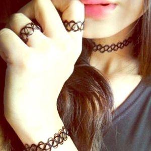 Tattoo necklace choker set
