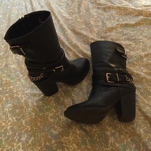 Mid-Calf, Heeled Moto Boots