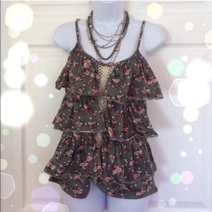 Tops - Ruffly Floral Tank with Lace