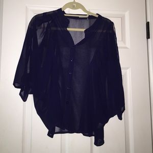 Navy blouse with three quarter sleeves