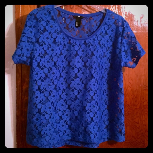 Royal Blue Lace Blouse | Fashion Ql