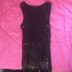 Black sequin small tank top from express