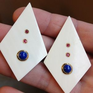 Jewelry - Pair of Ivory drop earrings with 14k, lapis, ruby