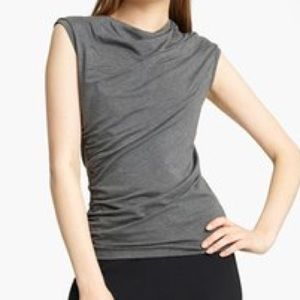Lida Baday Graphite Ruched Jersey Top Large NWT
