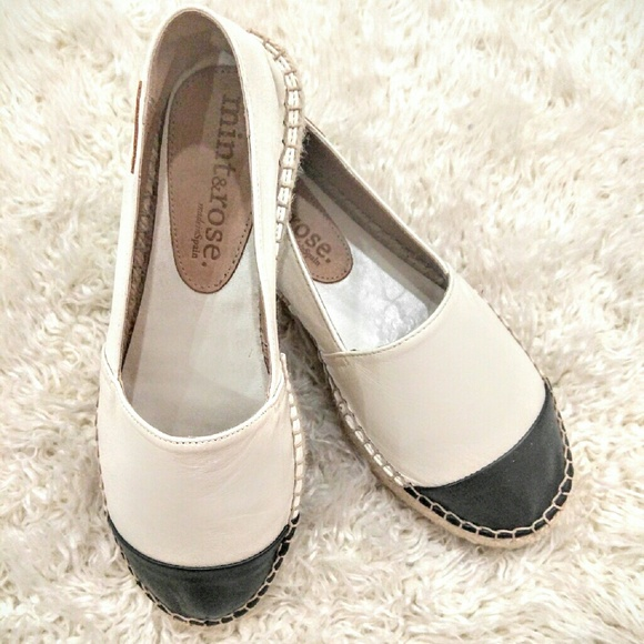 1d6313f1315 Mint   Rose · Black and white leather espadrilles