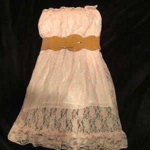 Tops - Soft light pink lace strapless halter w/ tan belt