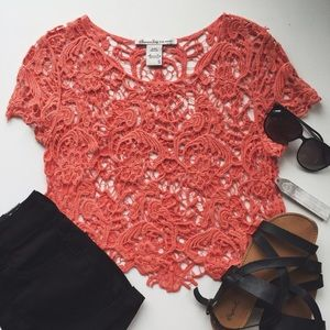 Coral Lace Top