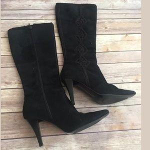 Carlos Santana tempest black suede boots Sz 6