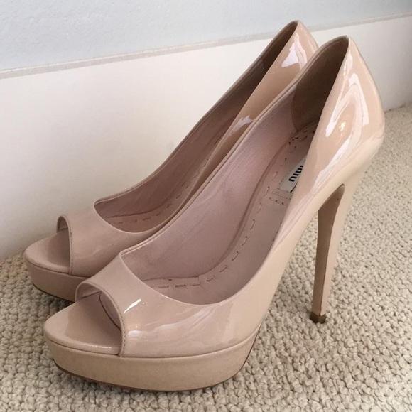 4f09d2fe911a Miu Miu blush  nude patent peep toe platform. M 572b98f27fab3a70e501b55c.  Other Shoes ...