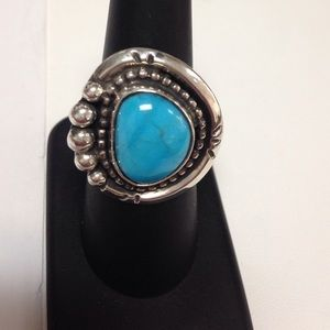 Navajo Zuni Turquoise Ans Sterling Silver Ring